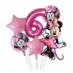 6 - ojo gimtadienio Minnie Mouse balionų rinkinys