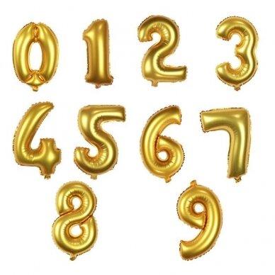 Folinis balionas su skaičium, aukso spalvos, pasirenkamas