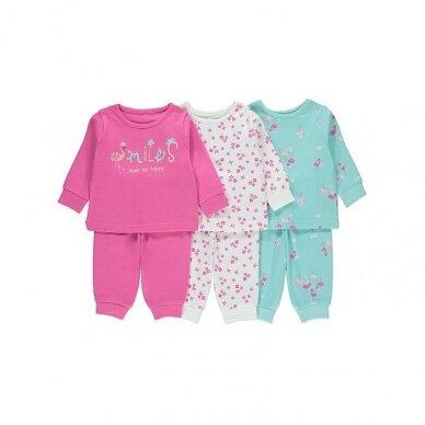 """Mergaitiška pižama """"Flamingai"""", 3 vnt."""