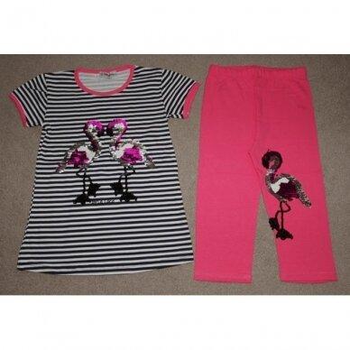 """Vasarinis komplektas su žvyneliais siuvinėtais paveikslėliais """"Flamingai"""""""