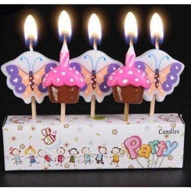 """Žvakutės tortui """"Keksiukai ir drugeliai"""""""